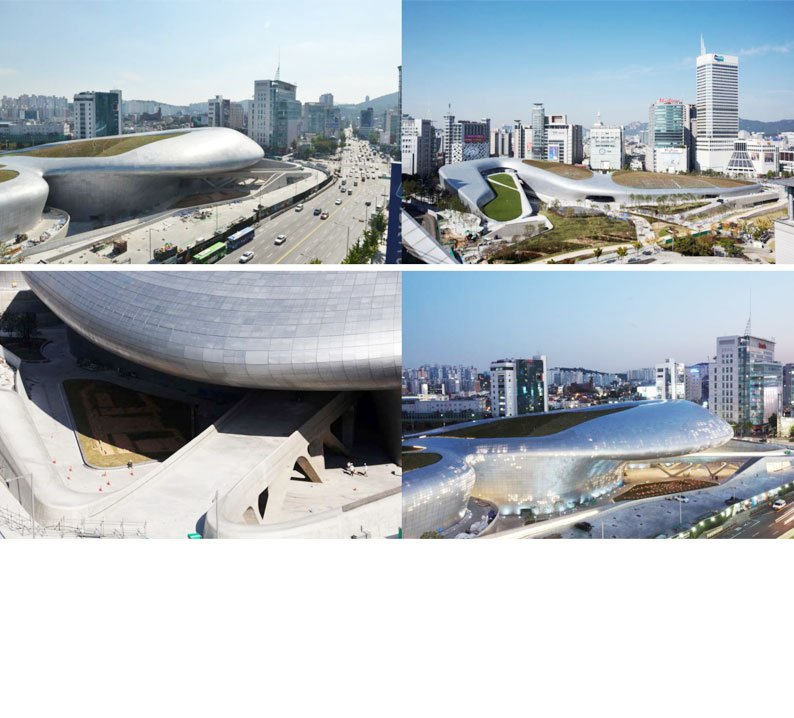 The DDP – Dongdaemun Design Park, Seoul Metropolitan Government, Korea. Designed by Zaha Hadid.